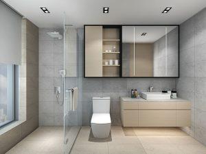 طراحی سرویس بهداشتی با شیشه بین حمام